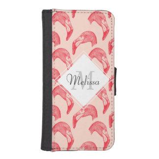 ヴィンテージのピンクのフラミンゴパターン iPhoneSE/5/5sウォレットケース