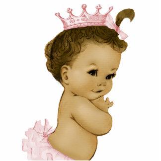 ヴィンテージのピンクのプリンセスの女の赤ちゃんのシャワー 写真彫刻(台付き)