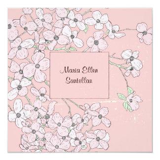 ヴィンテージのピンクのミズキのベビーシャワーの招待状 13.3 スクエアインビテーションカード