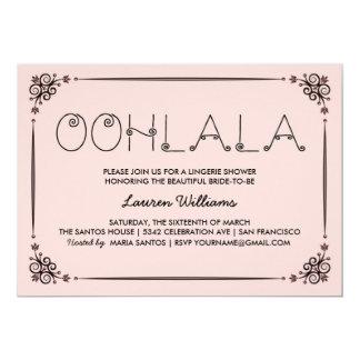 ヴィンテージのピンクのランジェリーのシャワーの招待状のOohのLaのLa カード