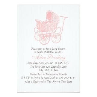 ヴィンテージのピンクの乳母車のベビーシャワー カード