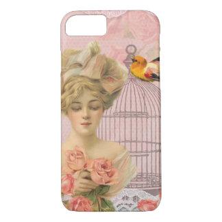 ヴィンテージのピンクの女の子および彼女のバラおよび鳥 iPhone 8/7ケース