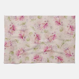 ヴィンテージのピンクの白い緑バラの花模様 キッチンタオル