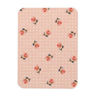 ヴィンテージのピンクの花柄および点 マグネット