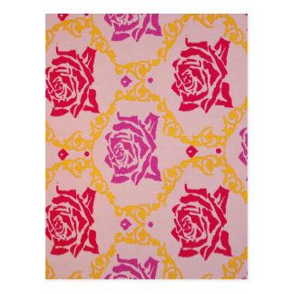 ヴィンテージのピンクの花柄 ポストカード
