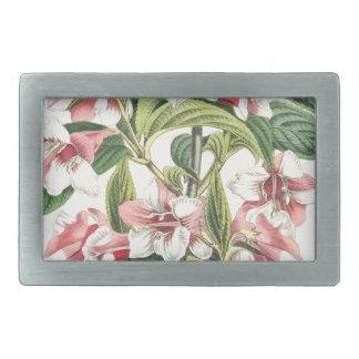 ヴィンテージのピンクの菊の花 長方形ベルトバックル