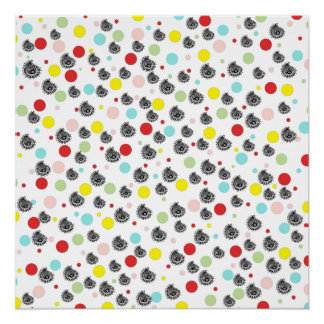 ヴィンテージのピンクの赤く黒いペイズリーの水玉模様パターン ポスター