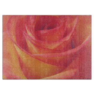 ヴィンテージのピンクの黄色バラ カッティングボード