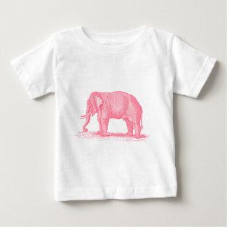 ヴィンテージのピンク象の19世紀象のイラストレーション ベビーTシャツ