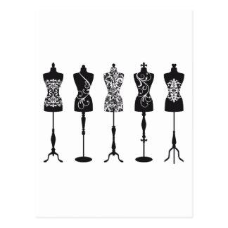 ヴィンテージのファッションのマネキンのシルエット ポストカード