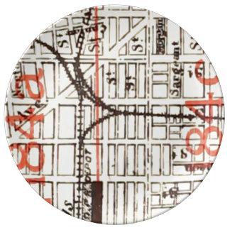 ヴィンテージのフィラデルヒィアの地図の詳細184a 184c 磁器プレート