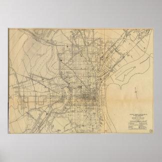ヴィンテージのフィラデルヒィアの鉄道Map (1911年) ポスター