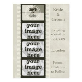 ヴィンテージのフィルムのストリップの保存日付の写真の郵便はがき ポストカード