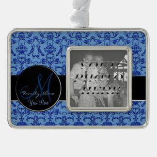 ヴィンテージのフィレンツェのダマスク織(青い) (モノグラム) シルバープレートフレームオーナメント