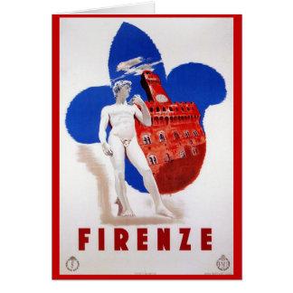 ヴィンテージのフィレンツェの30年代イタリアンな旅行広告 カード