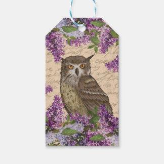 ヴィンテージのフクロウおよび薄紫 ギフトタグ