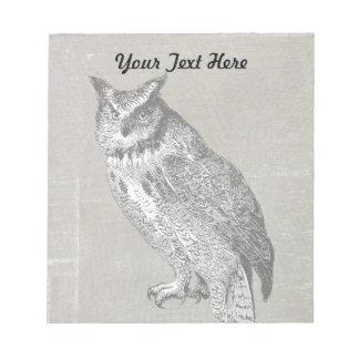 ヴィンテージのフクロウのイラストレーション ノートパッド