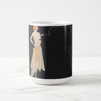 ヴィンテージのフラッパーの女性のイラストレーションのマグ コーヒーマグカップ
