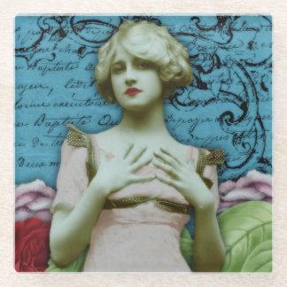 ヴィンテージのフランスのでかわいらしい女の子のコラージュの花 ガラスコースター