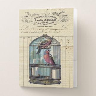 ヴィンテージのフランスのでシックでビクトリアンな鳥かご愛鳥 ポケットフォルダー