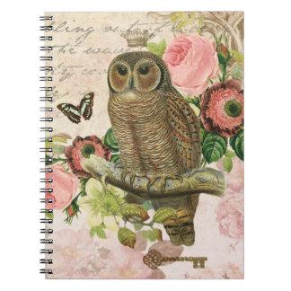 ヴィンテージのフランスのなぼろぼろのシックなフクロウのノート ノートブック