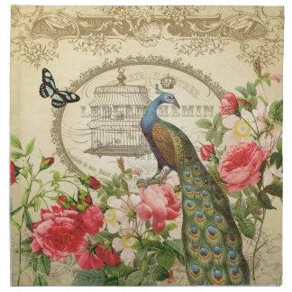 ヴィンテージのフランスのなぼろぼろのシックな孔雀 ナプキンクロス
