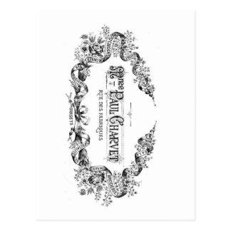 ヴィンテージのフランスのなタイポグラフィのコルセット広告 ポストカード