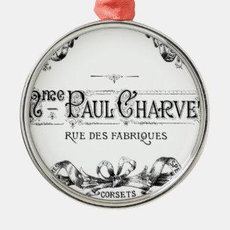 ヴィンテージのフランスのなタイポグラフィのコルセット広告 メタルオーナメント