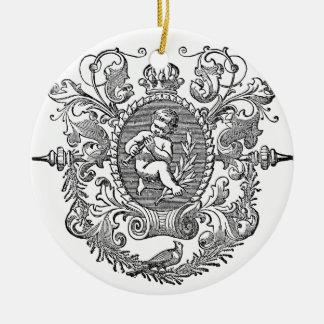 ヴィンテージのフランスのなタイポグラフィの天使のデザイン セラミックオーナメント