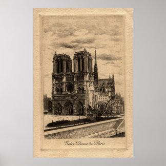 ヴィンテージのフランスのなポスター-ノートルダム大聖堂 ポスター