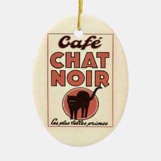 """ヴィンテージのフランスのなポスター""""noir """" Café雑談 セラミックオーナメント"""