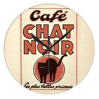 """ヴィンテージのフランスのなポスター""""noir """" Café雑談 ラージ壁時計"""