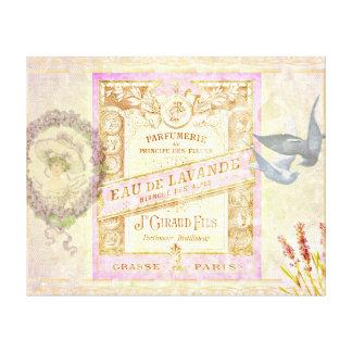 ヴィンテージのフランスのなラベンダーの香水のコラージュ キャンバスプリント