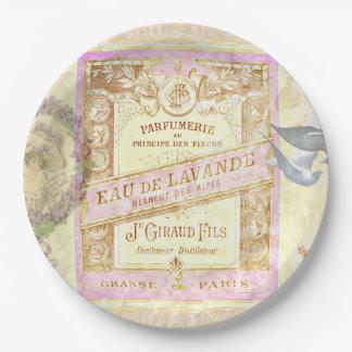 ヴィンテージのフランスのなラベンダーの香水のコラージュ ペーパープレート