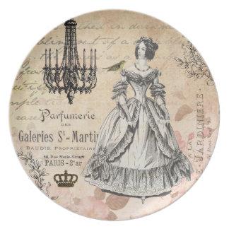 ヴィンテージのフランスのな女性ぼろぼろのシックなプレート プレート
