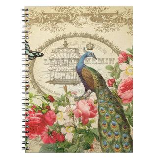 ヴィンテージのフランスのな孔雀のノート ノートブック