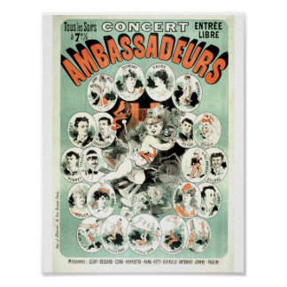 ヴィンテージのフランスのな広告コンサートショー1881年 ポスター
