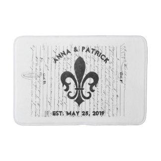 ヴィンテージのフランスのな短命なものB及びWの(紋章の)フラ・ダ・リのカスタム バスマット