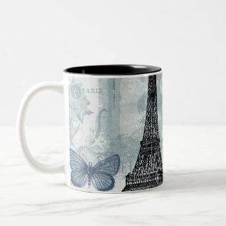 ヴィンテージのフランスのな蝶およびバラ ツートーンマグカップ