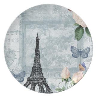 ヴィンテージのフランスのな蝶およびバラ ディナー皿