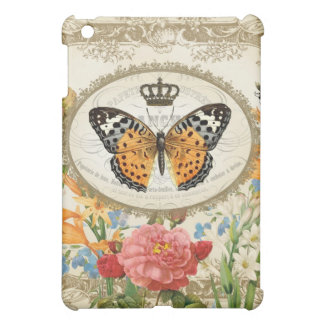 ヴィンテージのフランスのな蝶小型ipadの場合 iPad miniカバー