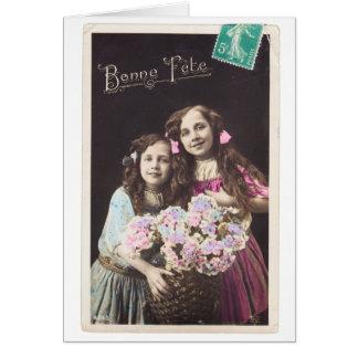 ヴィンテージのフランスのな郵便はがきの女の子のbonneのannée カード