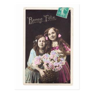 ヴィンテージのフランスのな郵便はがきの女の子のbonneのannée ポストカード