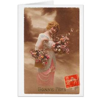 ヴィンテージのフランスのな郵便はがきのbonneのannéeの明けましておめでとう カード