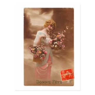 ヴィンテージのフランスのな郵便はがきのbonneのannéeの明けましておめでとう ポストカード