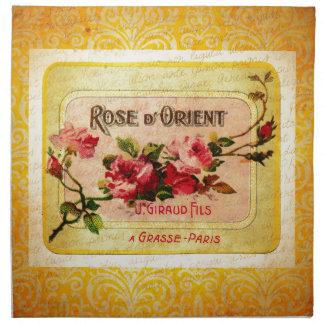 ヴィンテージのフランスのな香水のラベル ナプキンクロス