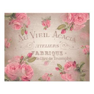 ヴィンテージのフランスのなshabbychicローズピンクの花柄 チラシ