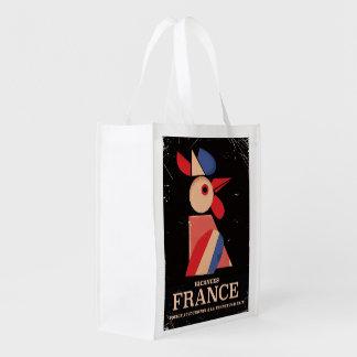 ヴィンテージのフランスのcockerel旅行ポスター エコバッグ