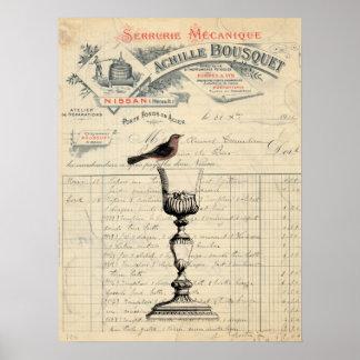 ヴィンテージのフランスワインのテーマポスター ポスター