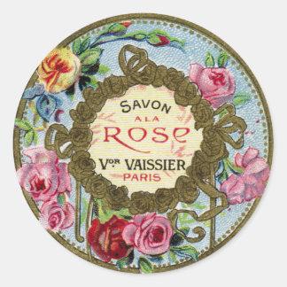 ヴィンテージのフランス人のばら色の香水 ラウンドシール